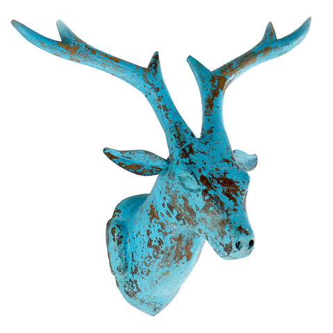 Wooden Deer Head, Blue