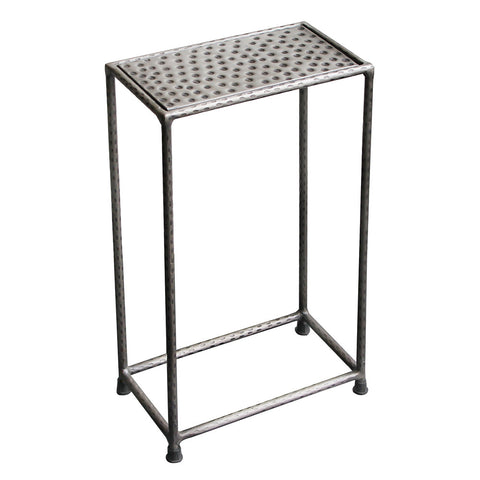 Little Hammered Iron Side Table, Nickel Antique