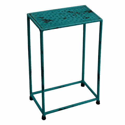 Little Hammered Iron Side Table, Blue Antique