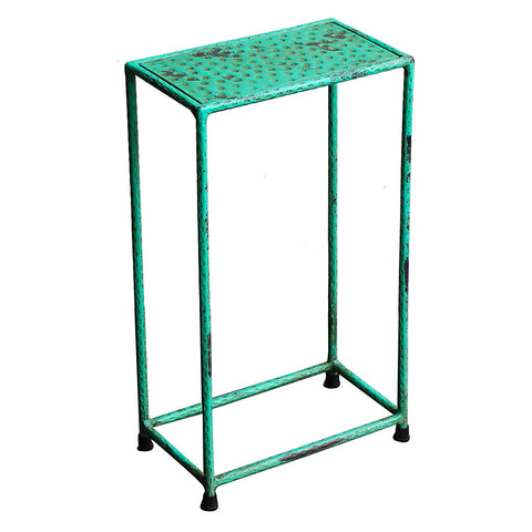 Little Hammered Iron Side Table, Antique Green