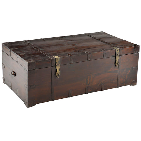 Wooden Trunk with Metal Straps, Medium Antique