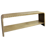 Matera Iron Rivited Console, Antique Brass