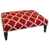 Natural Fibers Ottoman,  Red Trellis