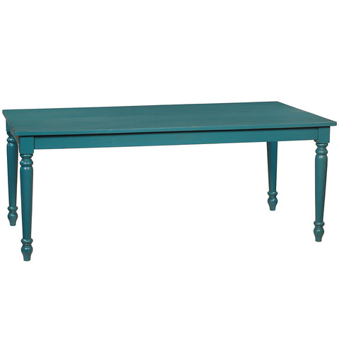 Meredith Turned Leg Dining Table, Teal