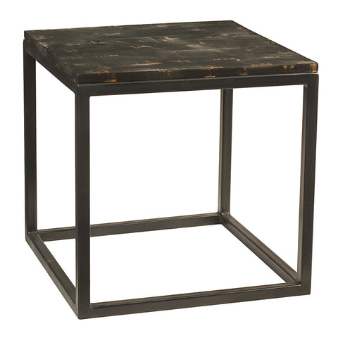 Burlington Iron & Wood End Table Large, Rustic Black