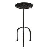 Little Hammered Iron Round Side Table, Antique Black