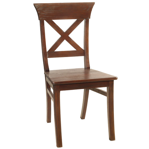 Cross Back Dining Chair, Dark Mahogany