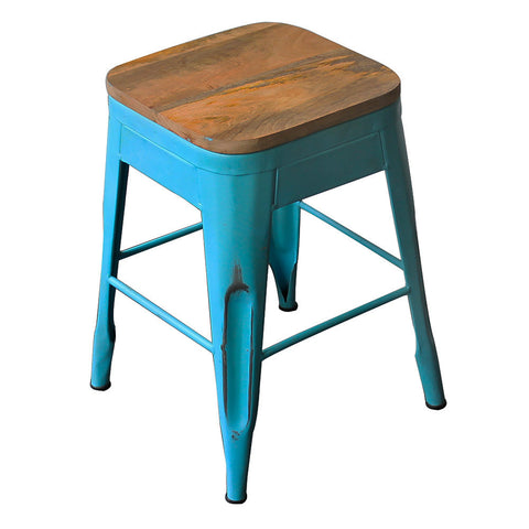 Galvan Iron Wood Stool, Sky Blue