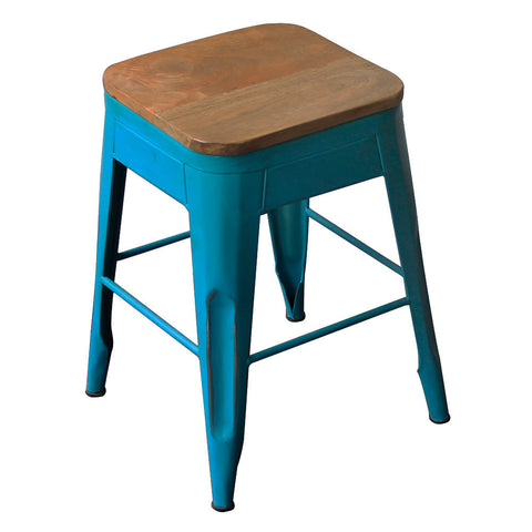 "Galvan Iron Wood Stool 18"" High, Cornflower Blue"