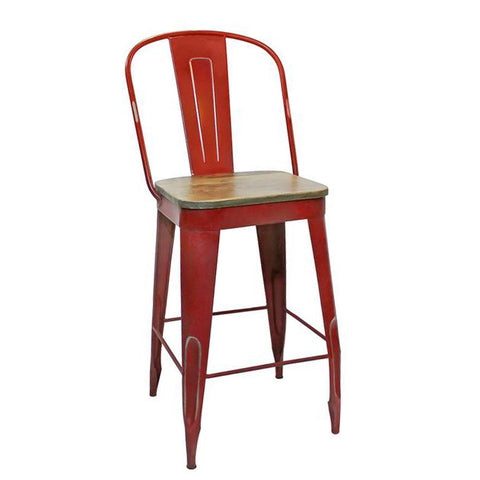 "Frenchy Counter Stool - 25"" seat, Red"
