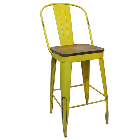 "Frenchy Counter Stool - 25"" seat, Yellow"