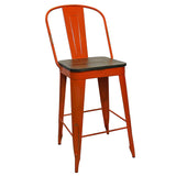 "Frenchy Counter Stool - 25"" seat, Orange"