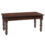 Melinda Wide Turned Leg Coffee Table, Light Mahogany