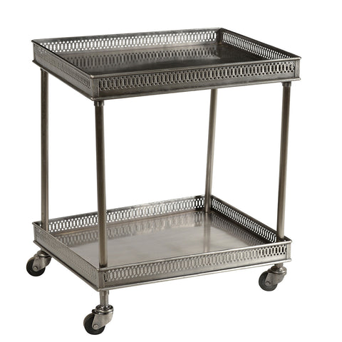 "Good Size Metal Trolley 24"" High, Antique Nickel"