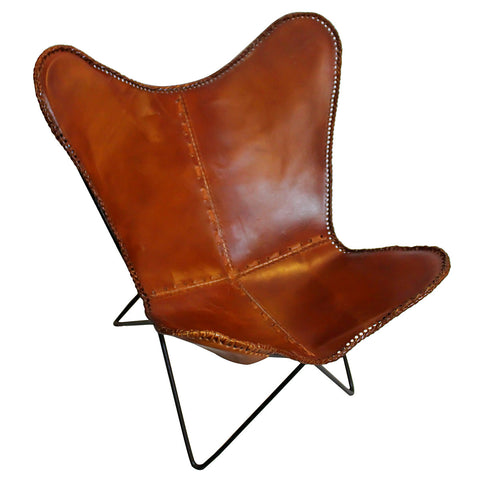 Butterfly Iron and Leather Chair, Light Brown