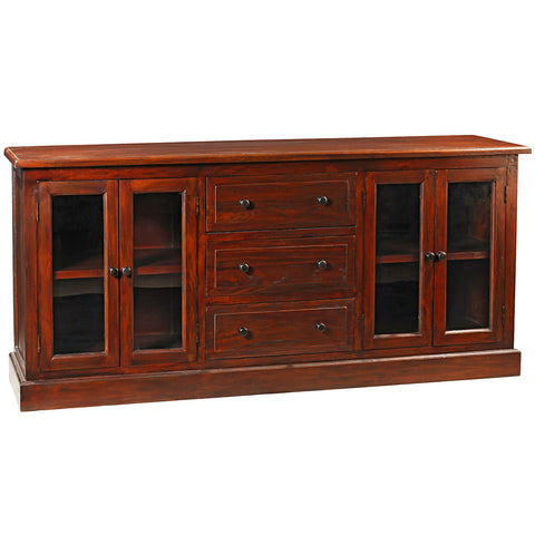 Caroline Glass Door Buffet, Light Mahogany