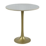 Bellance Iron & White Marble Side Table, Antique Brass