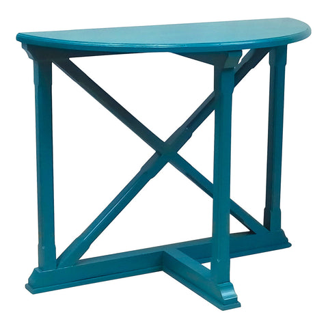 Cross Demilune Console, Teal