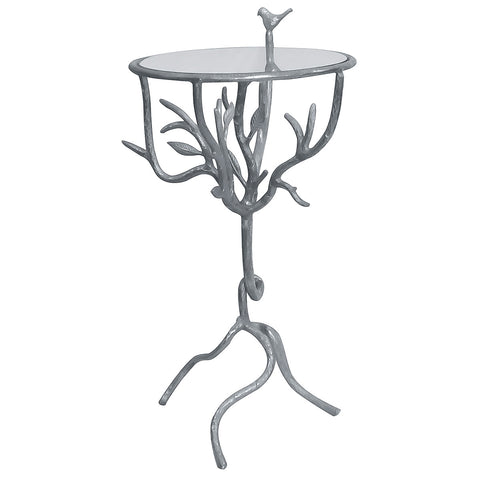 Basil Aluminum & Glass Side Table, Aluminum