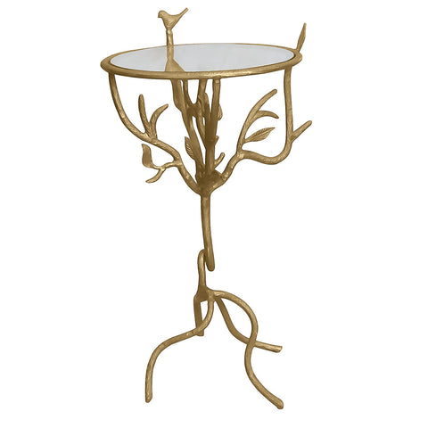 Basil Aluminum & Glass Side Table, Gold