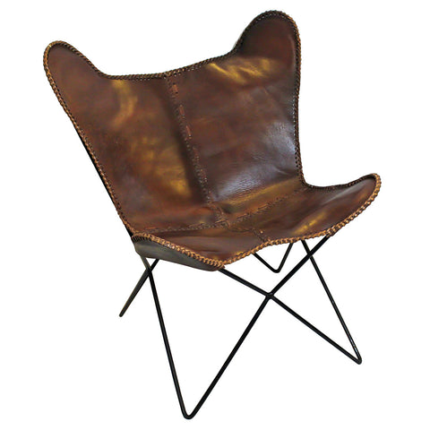 Butterfly Iron and Leather Chair, Brown