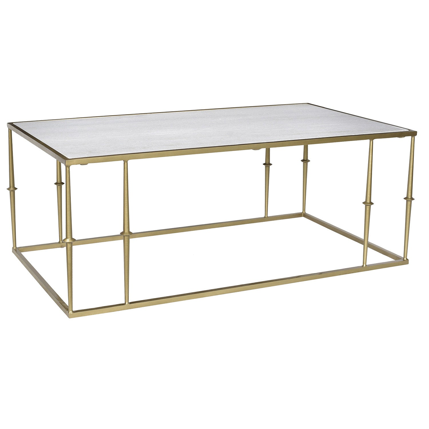 Exceptionnel Mechelen Iron U0026 Marble Coffee Table, Brass