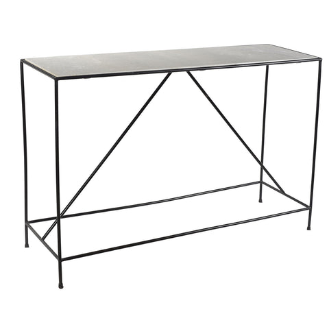 Hasselt Iron & Marble Console, Black
