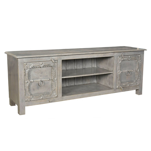 Annie Wooden Media Stand, Gray
