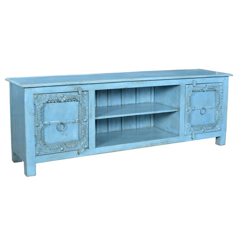 Annie Wooden Media Stand, Blue