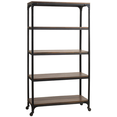 Bedford Library Shelves, Rustic Dark Gray Wash