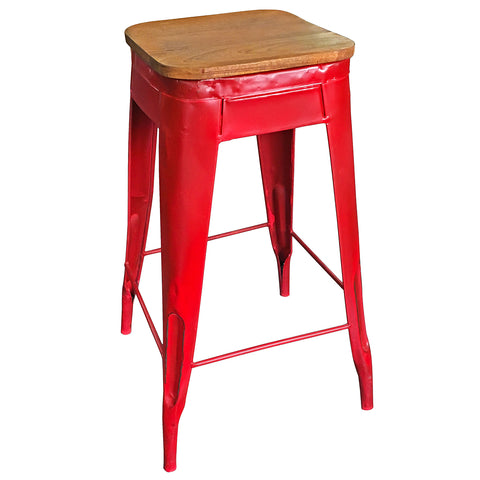 "Galvan Iron Wood Stool 29"" High, Red"