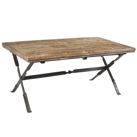 Brielle Iron and Wood Folding Coffee Table