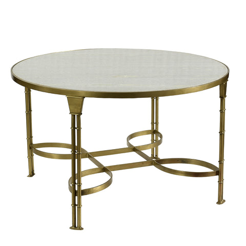 Alberto Iron & Marble Coffee Table, Brass