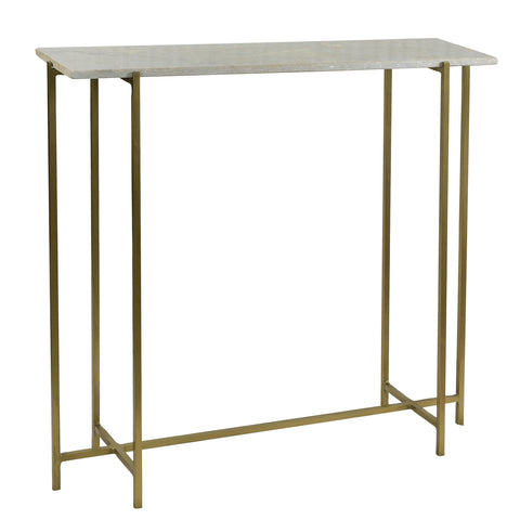 Abree Iron & Marble Console Table, Brass