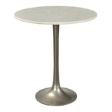 Bellance Iron & White Marble Side Table, Antique Nickel