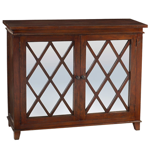Diamond Mirror Cabinet, Light Mahogany