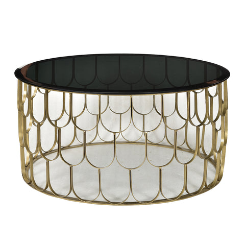 "Antille Iron and Black Glass Side Table, 17.5"" high"