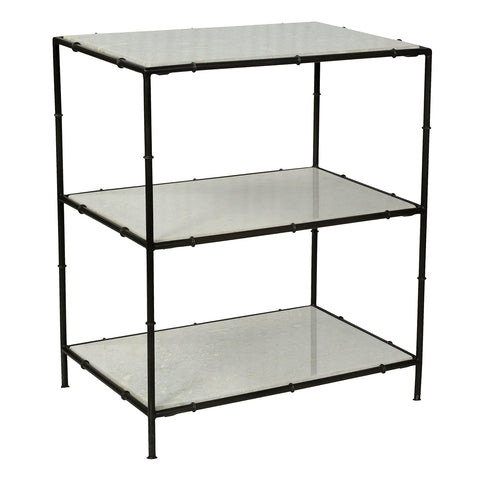 Edith Iron & Marble Side Table, Gunmetal