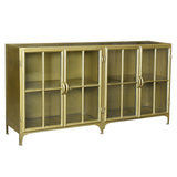 Taranto Iron and Glass Cabinet, Antiqued Brass