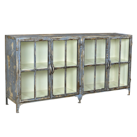 Taranto Iron and Glass Cabinet, Swedish Blue with White Inside