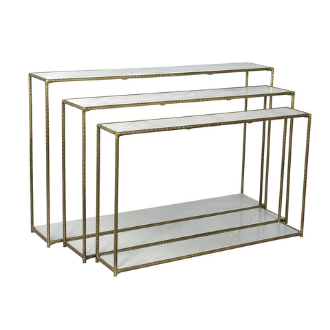 Balbina Iron & White Marble Console Large, Brass