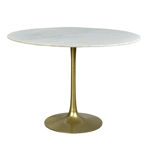 Bernardo Iron & White Marble Dining Table, Antique Brass