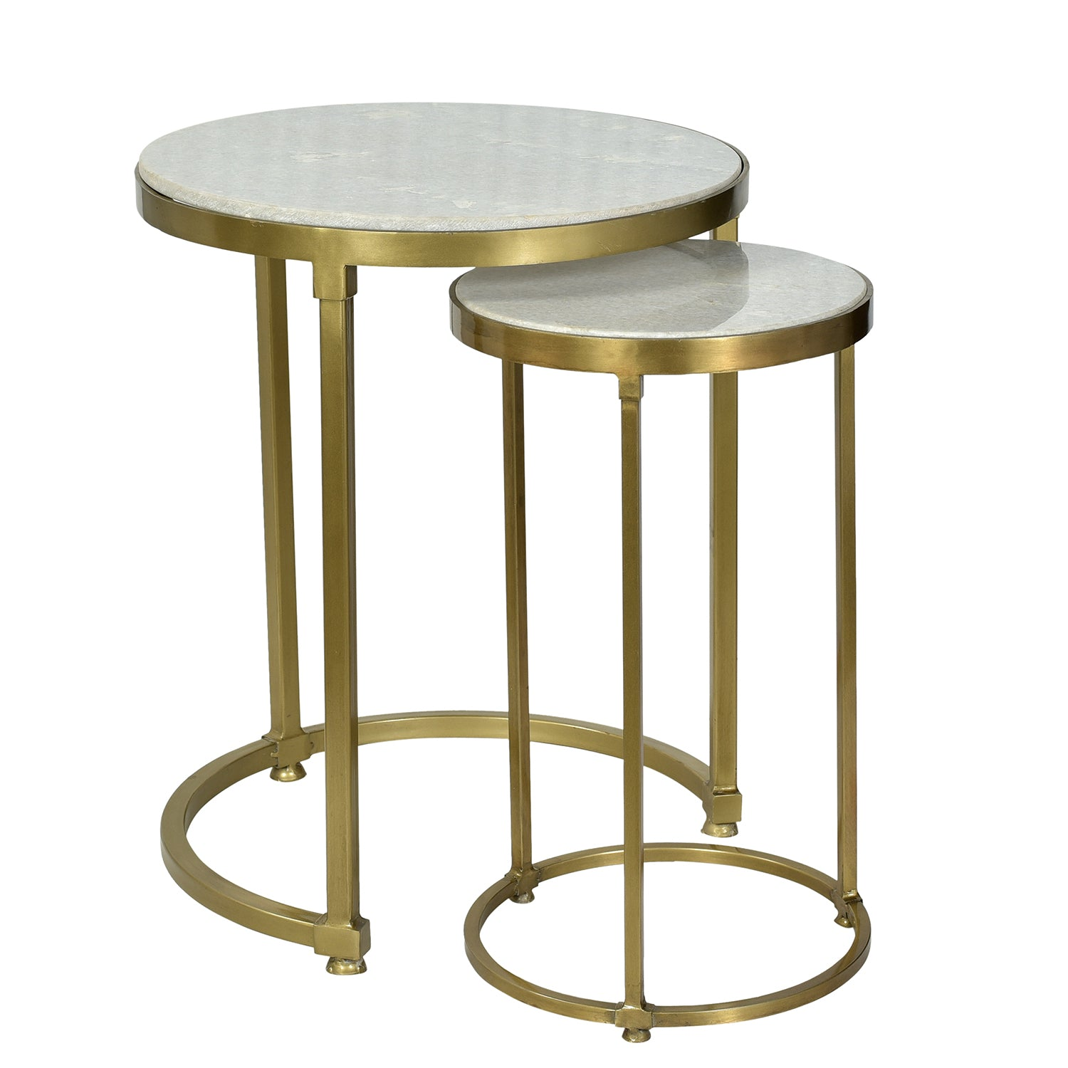Sofia Iron Amp Marble Nesting Tables Antique Brass
