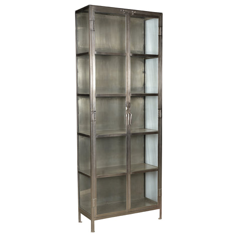 Giorgia Iron & Glass Cabinet, Antique Nickel