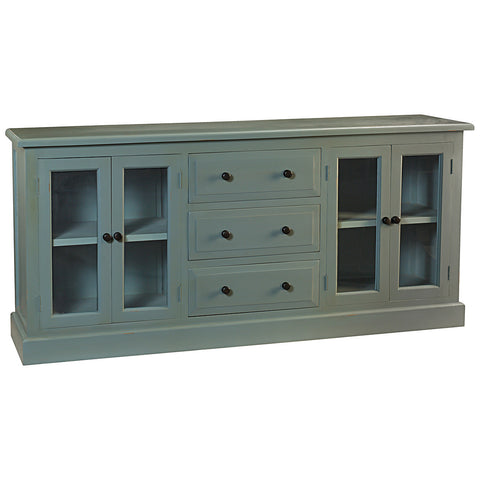 Caroline Glass Door Buffet, Slate Blue