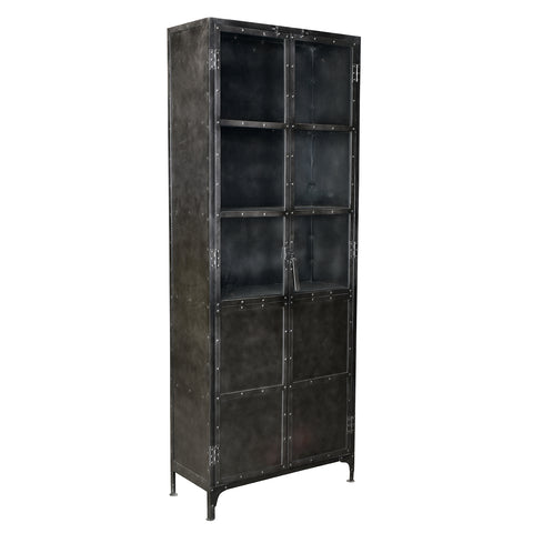Thermi Iron & Glass Cabinet, Gun Metal