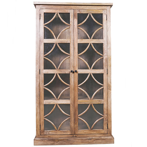 Danube Wood and Glass Cabinet, Light Bleach