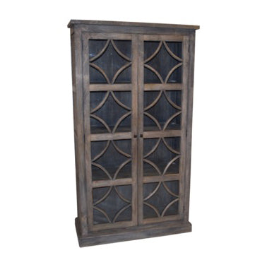 Danube Wood and Glass Cabinet, Grey Brown