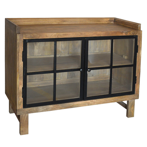 Atticus Iron & Wood Cabinet, Light Bleach