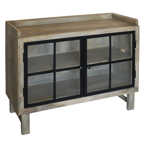 Atticus Iron & Wood Cabinet, Gray Brown